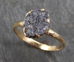 Rough Raw Black Grey Diamond Engagement Ring Raw 14k yellow Gold Wedding Ring Wedding Solitaire Rough Diamond Ring byAngeline 0293
