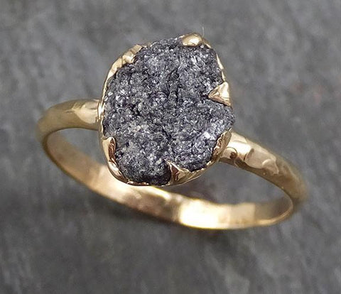 Rough Raw Black Grey Diamond Engagement Ring Raw 14k yellow Gold Wedding Ring Wedding Solitaire Rough Diamond Ring byAngeline 0293 - Gemstone ring by Angeline