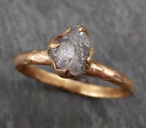Raw Diamond Solitaire Engagement Ring Rough 14k rose Gold Wedding Ring diamond Stacking Ring Rough Diamond Ring byAngeline 0294 - Gemstone ring by Angeline