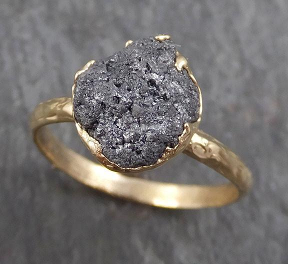 Rough Raw Black Grey Diamond Engagement Ring Raw 14k Gold Wedding Ring Wedding Solitaire Rough Diamond Ring byAngeline 0295 - Gemstone ring by Angeline