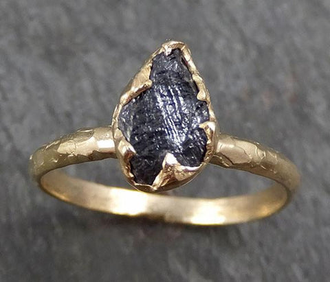 Rough Raw Black Diamond Engagement Ring Raw 14k Gold Wedding Ring Wedding Solitaire Rough Diamond Ring byAngeline 0296 - Gemstone ring by Angeline