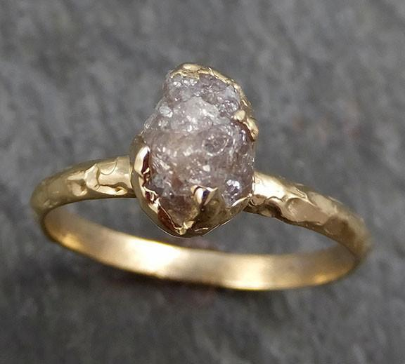 Raw Diamond Engagement Ring Rough Uncut Diamond Solitaire Recycled 14k gold Conflict Free Diamond Wedding Promise byAngeline 0297 - Gemstone ring by Angeline