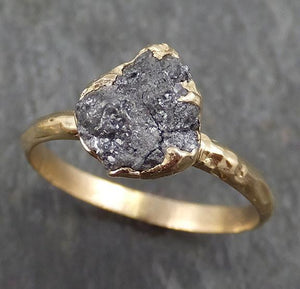 Rough Raw Black Grey Diamond Engagement Ring Raw 14k yellow Gold Wedding Ring Wedding Solitaire Rough Diamond Ring byAngeline 0300