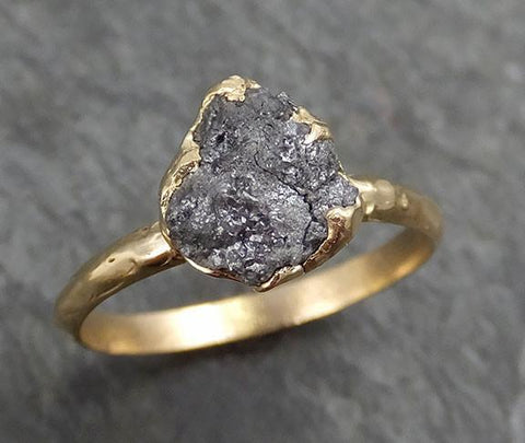 Rough Raw Black Grey Diamond Engagement Ring Raw 14k yellow Gold Wedding Ring Wedding Solitaire Rough Diamond Ring byAngeline 0300 - Gemstone ring by Angeline