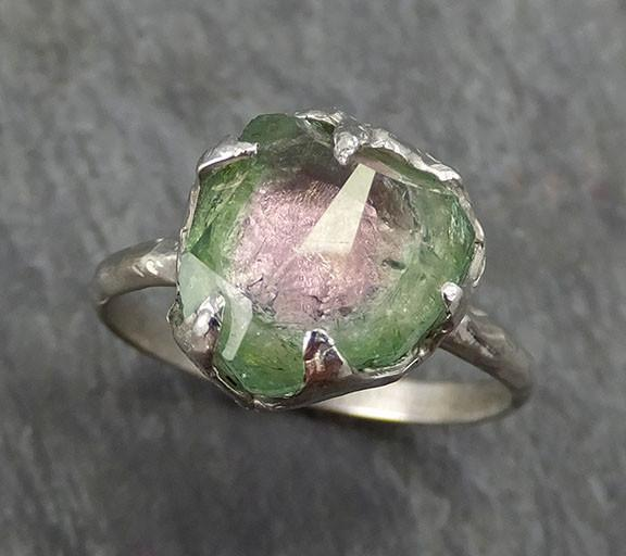 Partially faceted Watermelon Pink Green Tourmaline 14k white Gold Engagement Ring One Of a Kind Gemstone Ring byAngeline 0301 - Gemstone ring by Angeline