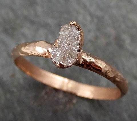 Raw Diamond Solitaire Multi stone Engagement Ring Rough 14k rose Gold Wedding Ring diamond Wedding Set Stacking Ring Rough Diamond Ring byAngeline 0302 - Gemstone ring by Angeline