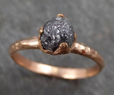 Raw Diamond Solitaire Engagement Ring Rough 14k rose Gold Wedding diamond Wedding Set Stacking Rough Diamond Charcoal Grey byAngeline 0304 - Gemstone ring by Angeline