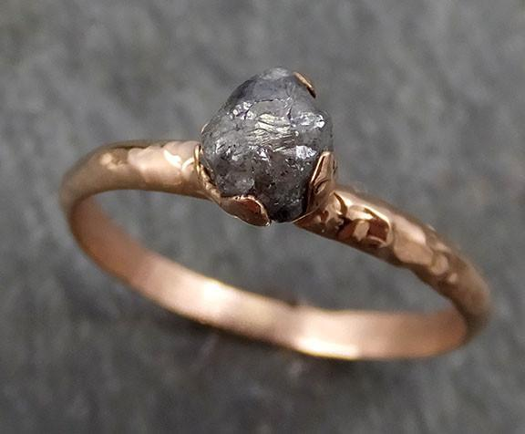 Raw Diamond Solitaire Engagement Ring Rough 14k rose Gold Wedding diamond Stacking Rough Diamond Charcoal Grey byAngeline 0306 - Gemstone ring by Angeline