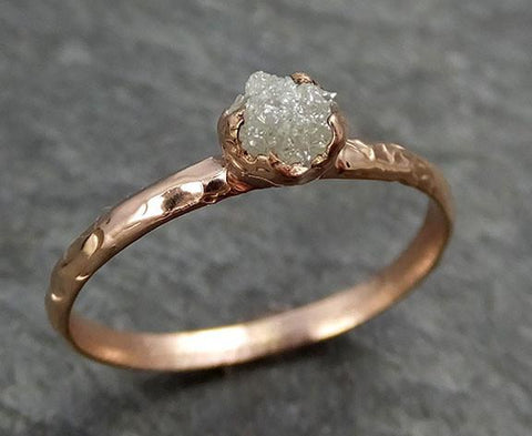 Raw Diamond Solitaire Engagement Ring Rough 14k rose Gold Wedding Ring diamond Stacking Ring Rough Diamond Ring byAngeline 0309 - Gemstone ring by Angeline