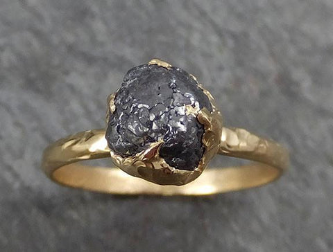 Rough Raw Black Grey Diamond Engagement Ring Raw 14k yellow Gold Wedding Ring Wedding Solitaire Rough Diamond Ring byAngeline 0310 - Gemstone ring by Angeline