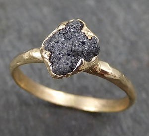 Rough Raw Black Grey Diamond Engagement Ring Raw 14k yellow Gold Wedding Ring Wedding Solitaire Rough Diamond Ring byAngeline 0313