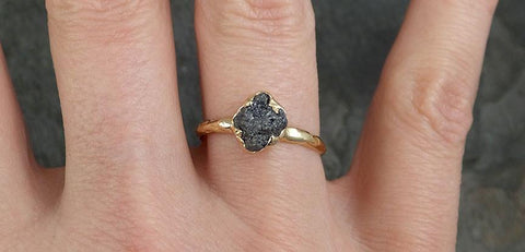 Rough Raw Black Grey Diamond Engagement Ring Raw 14k yellow Gold Wedding Ring Wedding Solitaire Rough Diamond Ring byAngeline 0313 - Gemstone ring by Angeline