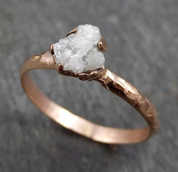 Raw Diamond Solitaire Engagement Ring Rough 14k rose Gold Wedding Ring diamond Stacking Ring Rough Diamond Ring byAngeline 0316 - Gemstone ring by Angeline