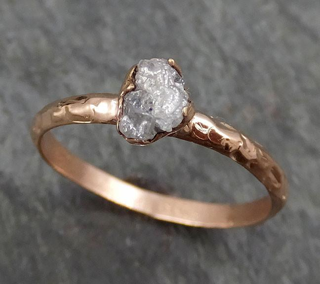 Raw Diamond Solitaire Engagement Ring Rough 14k rose Gold Wedding Ring diamond Stacking Ring Rough Diamond Ring byAngeline 0319 - Gemstone ring by Angeline