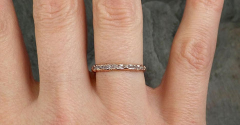 Raw Rough Uncut Diamond Wedding Band 14k Rose Gold Pink Diamond Wedding Ring byAngeline 0320 - Gemstone ring by Angeline