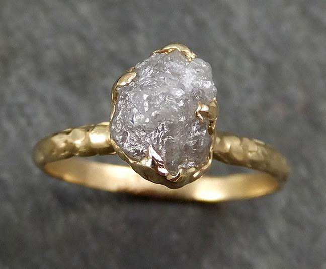 Raw Diamond Engagement Ring Rough Uncut Diamond Solitaire Recycled 14k gold Conflict Free Diamond Wedding Promise byAngeline 0321 - Gemstone ring by Angeline