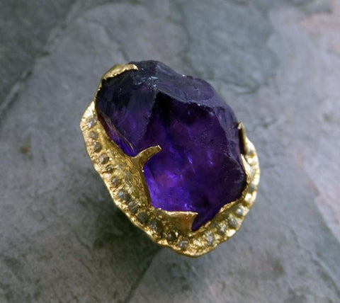 Raw Rough Uncut Gemstone Amethyst and Diamonds 18k Gold Halo Ring Multi stone Statement ring Show Stopper ring by Angeline 0052 - Gemstone ring by Angeline