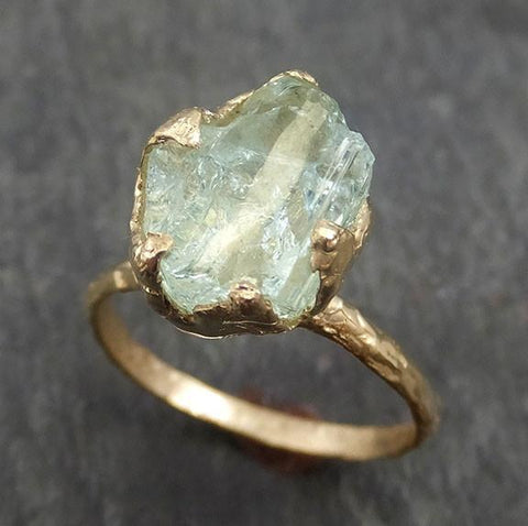Raw Uncut Aquamarine Ring Solid 14k Gold Ring wedding engagement Rough Gemstone Ring Statement Ring Stacking byAngeline 0325 - Gemstone ring by Angeline