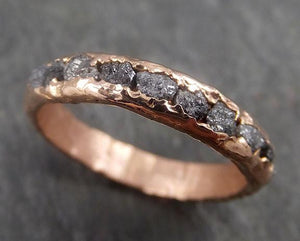 Custom Raw Rough Diamond Men's Wedding Band 14k Rose Gold Black Grey conflict free diamonds Recycled Rosegold byAngeline 0326