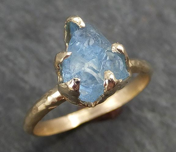 Raw Uncut Aquamarine Ring Solid 14k Gold Ring wedding engagement Rough Gemstone Ring Statement Ring Stacking byAngeline 0327 - Gemstone ring by Angeline