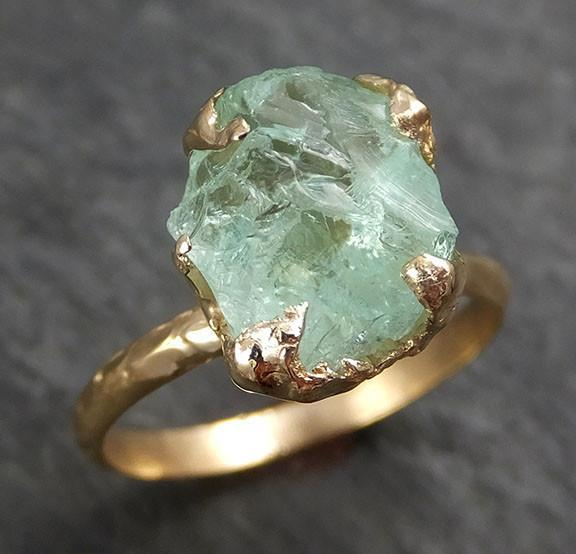 Raw Uncut Aquamarine Ring Solid 14k Gold Ring wedding engagement Rough Gemstone Ring Statement Ring Stacking byAngeline 0328 - Gemstone ring by Angeline