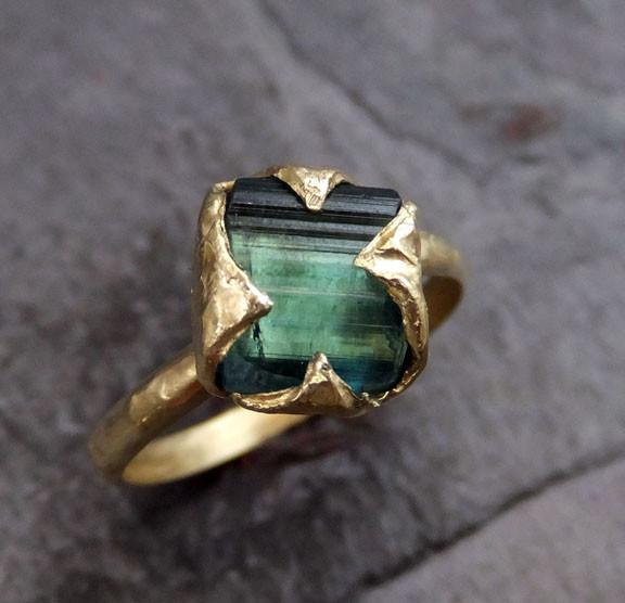 18k Gold Raw Green Tourmaline Ring Rough Uncut Gemstone tourmaline recycled stacking cocktail statement by Angeline - Gemstone ring by Angeline