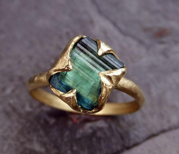 18k Gold Raw Green Tourmaline Ring Rough Uncut Gemstone tourmaline recycled  stacking cocktail statement by Angeline