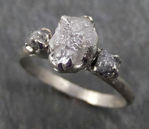 Rough Diamond Engagement Ring Raw 14k White Grey Gold Multi stone Wedding Ring diamond three stone Rough Diamond Ring byAngeline 0330 - Gemstone ring by Angeline