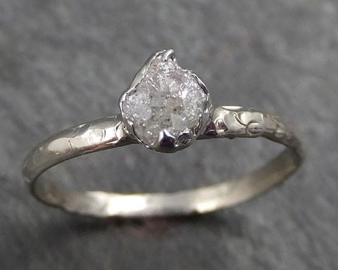 Raw Rough Uncut Diamond Engagement Ring Rough Diamond Solitaire 14k white gold Conflict Free Diamond Wedding Promise byAngeline 0331 - Gemstone ring by Angeline