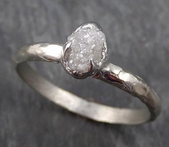 Raw Rough Uncut Diamond Engagement Ring Rough Diamond Solitaire 14k white gold Conflict Free Diamond Wedding Promise byAngeline 0332 - Gemstone ring by Angeline