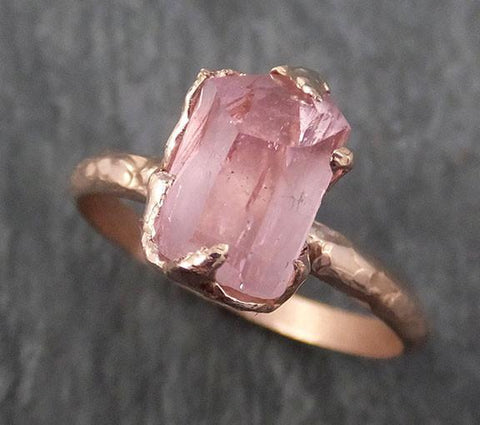 Partially faceted Raw Rough and partially Faceted Pink Topaz 14k rose Gold Ring One Of a Kind Gemstone Ring Recycled gold byAngeline 0336 - Gemstone ring by Angeline