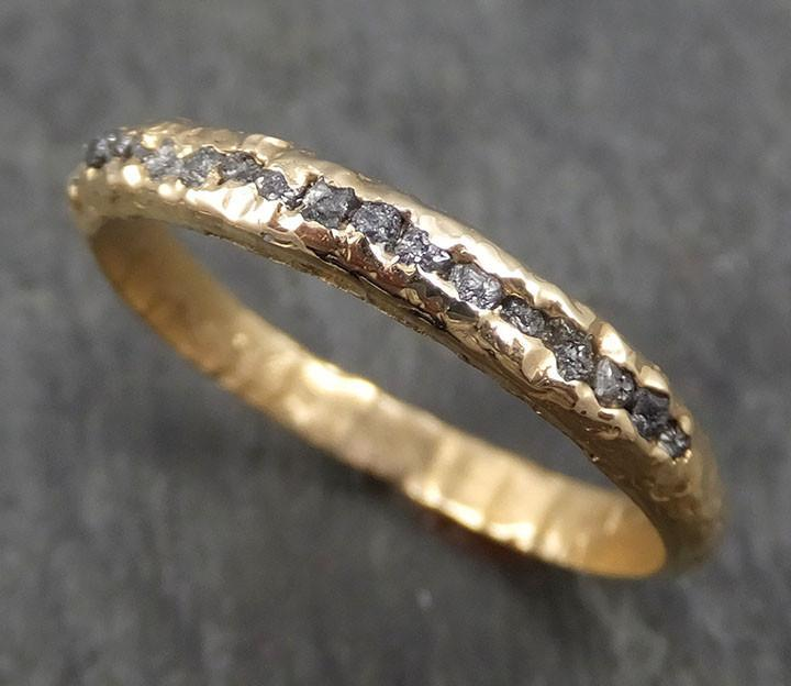 CUSTOM Raw Rough Diamond Women's or Men's Wedding Band 14k Gold Black Grey conflict free diamonds Recycled gold byAngeline C0343 - Gemstone ring by Angeline