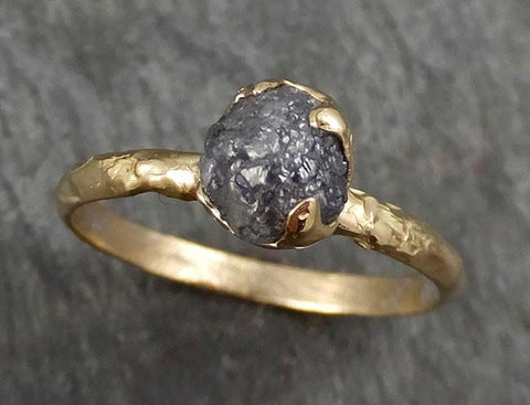 Rough Raw Black Grey Diamond Engagement Ring Raw 14k yellow Gold Wedding Ring Wedding Solitaire Rough Diamond Ring byAngeline 0344 - Gemstone ring by Angeline