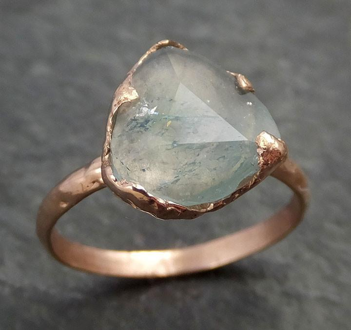 Partially Faceted Aquamarine Ring Solid 14K Rose Gold Ring wedding engagement Rough Gemstone Ring Statement Ring Stacking 0345 - Gemstone ring by Angeline