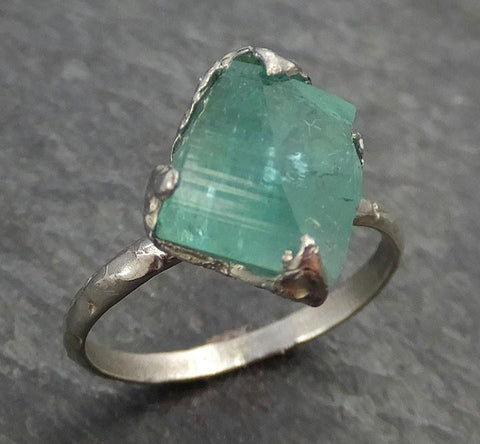 Partially faceted Raw Sea Green Tourmaline White Gold Ring Rough Uncut Gemstone Solitaire recycled 14k stacking cocktail statement 0346 - Gemstone ring by Angeline