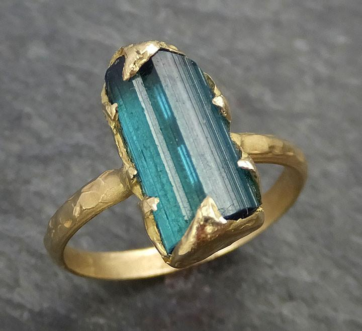 Raw Blue Green Tourmaline yellow Gold Ring Rough Uncut Gemstone tourmaline recycled 18k stacking cocktail statement byAngeline 0347 - Gemstone ring by Angeline