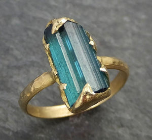 Raw Blue Green Tourmaline yellow Gold Ring Rough Uncut Gemstone tourmaline recycled 18k stacking cocktail statement byAngeline 0347