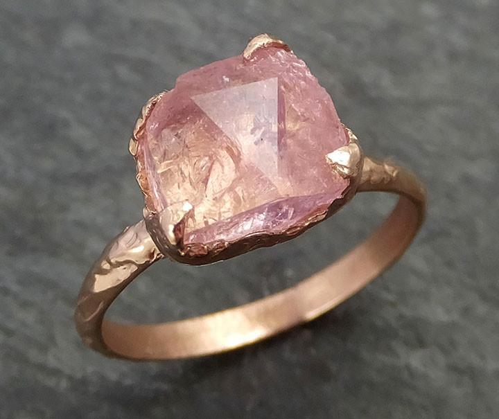 Raw Rough and partially Faceted Pink Topaz 14k rose Gold Ring One Of a Kind Gemstone Ring Recycled gold byAngeline 0349 - Gemstone ring by Angeline