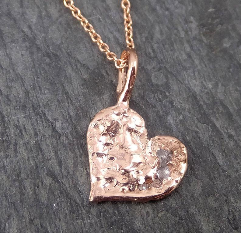 Raw Rough Dainty Diamond Rose Gold Heart Pendant Charm Necklace Pink Hammered Heart By Angeline 0350 - Gemstone ring by Angeline