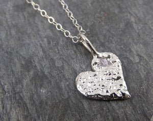 Raw Rough Dainty Diamond White Gold Heart Pendant Charm Necklace Pink diamond Hammered Heart By Angeline 0351.1