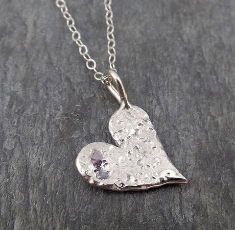 Raw Rough Dainty Diamond White Gold Heart Pendant Charm Necklace Pink diamond Hammered Heart By Angeline 0351 - Gemstone ring by Angeline