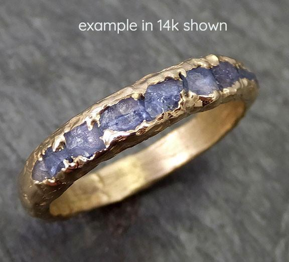 18k Raw Sapphire Men's Wedding Band Custom One Of a Kind Blue Montana Gemstone Ring Multi stone Ring byAngeline - Gemstone ring by Angeline