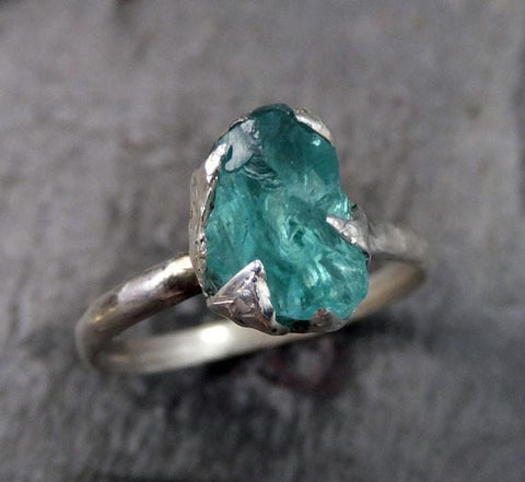 Raw Rough Uncut Apatite Neon Blue Rough Sterling Silver Gemstone Stacking Ring by Angeline - Gemstone ring by Angeline