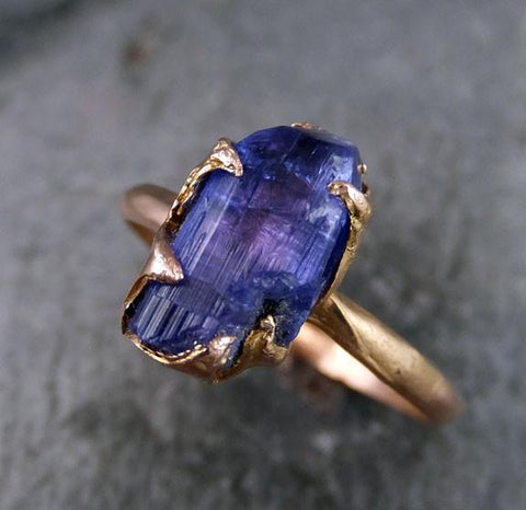 Raw Tanzanite Crystal Rose Gold Ring Rough Uncut Gemstone tanzanite recycled 14k stacking cocktail statement by Angeline - Gemstone ring by Angeline
