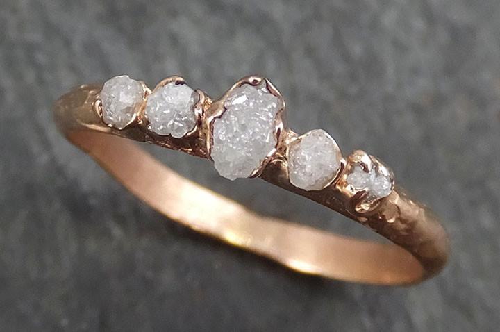 Raw Diamond Rose gold Multi stone Engagement Ring Rough Gold Wedding Ring diamond Wedding Ring Rough Diamond Ring byAngeline 0353 - Gemstone ring by Angeline