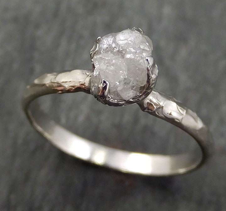 Raw Rough Uncut Diamond Engagement Ring Rough Diamond Solitaire 14k white gold Conflict Free Diamond Wedding Promise byAngeline 0354 - Gemstone ring by Angeline