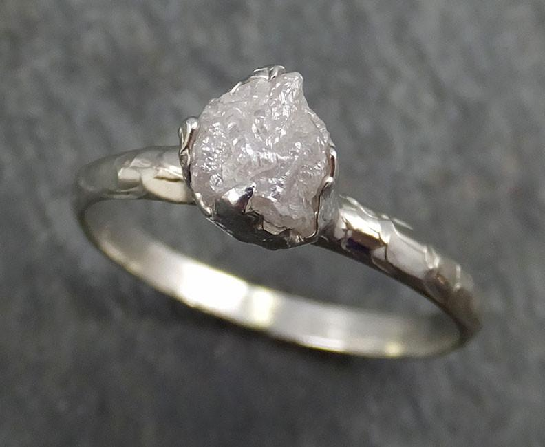Raw Rough Uncut Diamond Engagement Ring Rough Diamond Solitaire 14k white gold Conflict Free Diamond Wedding Promise byAngeline 0359 - Gemstone ring by Angeline