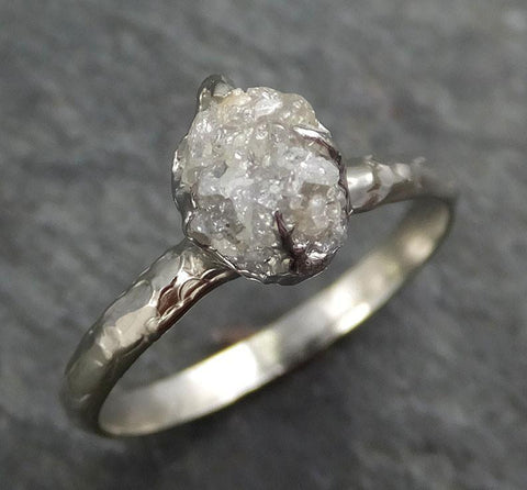 Raw Rough Uncut Diamond Engagement Ring Rough Diamond Solitaire 14k white gold Conflict Free Diamond Wedding Promise byAngeline 0360 - Gemstone ring by Angeline