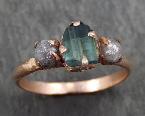 Raw blue green Indicolite Tourmaline Diamond Gold Engagement Engagement Wedding Ring One Of a Kind Gemstone Three stone Ring byAngeline 0337 - Gemstone ring by Angeline