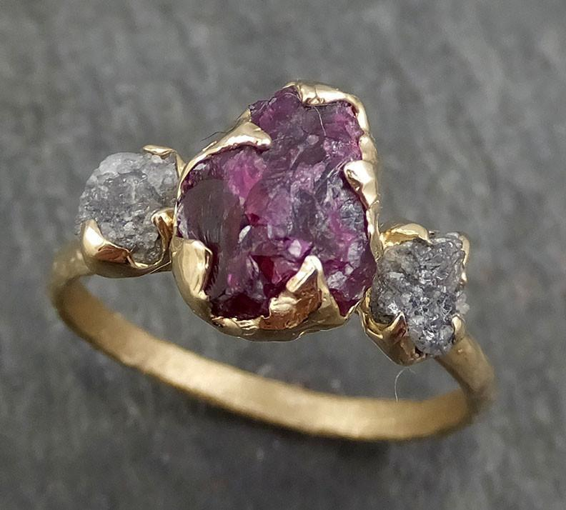 Raw Rough Diamond Ruby Multi Stone Ring 14k yellow Gold red Gemstone Engagement birthstone Ring byAngeline 0369 - Gemstone ring by Angeline